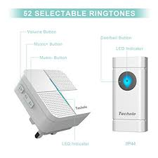 wireless doorbell system with light indicator wireless doorbell techole easy chime door bell kit with 2 plug in