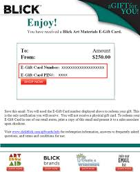 email gift certificates gift cards customer service blick materials