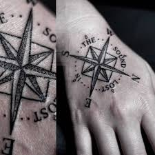 tattoo compass hand tattoo on the right hand