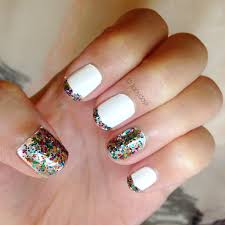 manicure monday white rainbow glitter styled with joy
