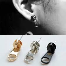 cool earrings for men rock cool men women zipper puller style stainless steel ear