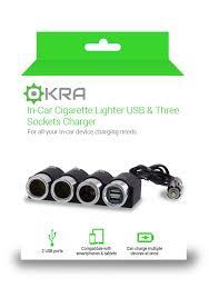 Multi Socket Car Charger With Usb Port 3 Sockets Cigarette Lighter Dc 12v 24v Car Charger Splitter
