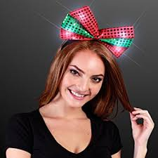 christmas headbands sequin light up green christmas bow headband beauty