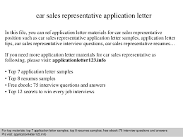 Car Sales Resume Sample by Car Sales Representative Application Letter