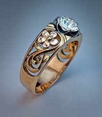 gold art rings images Art nouveau diamond solitaire openwork gold unisex ring antique jpg