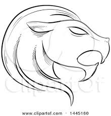 clipart of a sketched blue astrology zodiac leo lion head in
