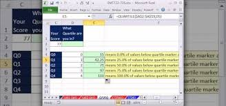 how to calculate quartiles with the microsoft excel 2010 quartile