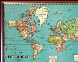 Decorative World Map Framed World Map Etsy