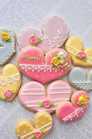 tea party heart cookies 24 pcs for wedding bridal shower cookies
