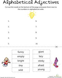 alphabetical adjectives worksheet education com