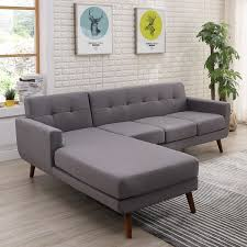 Upholstered Sectional Sofas Mid Century Left Facing Tufted Linen Fabric Upholstered Sectional
