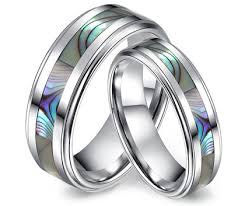 matching wedding bands matching wedding bands for couples with abalone shell inlay in
