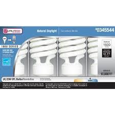 100w cfl light bulbs utilitech 4 pack 23 watt 100w spiral medium base daylight 5000k