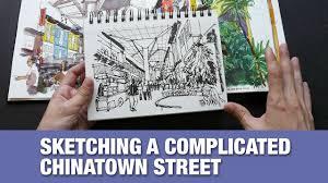 chinatown food street pen u0026 ink sketch tutorial youtube