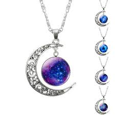 silver chain pendant necklace images Hollow moon glass galaxy statement necklaces with silver chain jpg