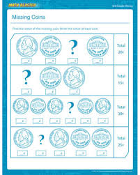 missing coins u2013 printable money math worksheet for 3rd grade