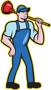 illustration of a plumber holding plunger standing facing front
