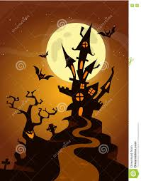 halloween haunted house on night background with a full moon