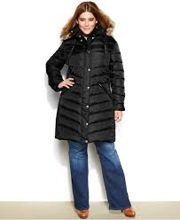 michael michael kors plus size faux fur trim hooded down puffer