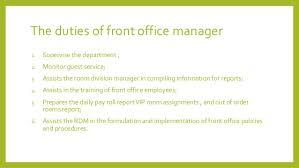 Front Desk Hotel Responsibilities Hotel Front Desk Manager Job Description 8 The Duties Of Front