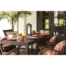 lowes outdoor dining table shop allen roth gatewood brown rectangle patio dining table at