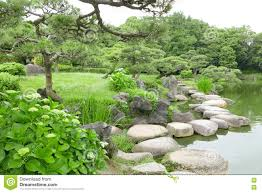 Zen Water Garden Grasses Stone Bridge And Water Pond In Japanese Zen Garden Stock