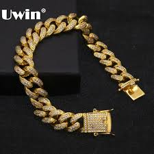 crystal link bracelet images Uwin hip hop luxury crystal cz zircon triple lock bracelet 14mm jpg
