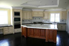 granite countertop white glass door cabinets stove tile
