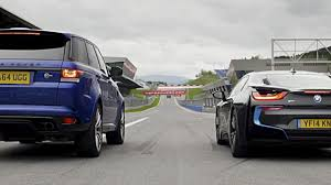 land rover bmw speed week drag race bmw i8 vs range rover sport svr top gear