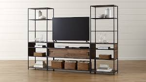 crate and barrel media cabinet knox media console with 2 tall open bookcases reviews crate and