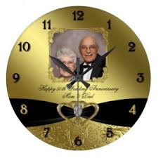 personalized anniversary clocks black ribbon personalized golden anniversary clock golden