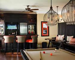 pool house decorating ideas with mini bar and crystal chandeliers