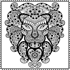 abstract tribal lion coloring page for adults pdf jpg instant
