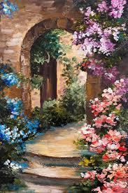 Summer House In Garden - oil painting summer terrace colorful flowers in a garden house
