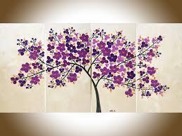 purple flowers painting purple wall art large canvas art