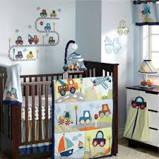 baby boy nursery with car theme idea in brown and soft blue color