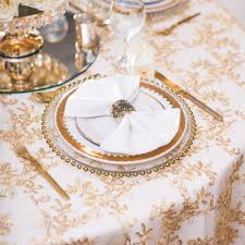 bright gold designer table overlay beyond expectations weddings