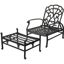Patio Chairs With Ottoman with Black Polished Iron Porch Chair With Ottoman With Recliner Outdoor