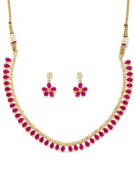 necklace pink stone images Rubans gold toned pink cz stone studded necklace set jpg