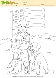 soldier with dog coloring sheet turtle diary