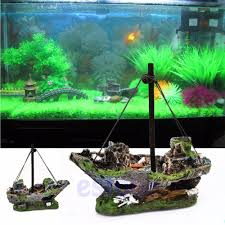 2017 aquarium ornament sunken steamboat fish sailing boat fish tank