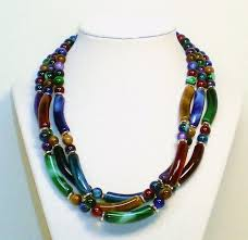 multi colored necklace images Marbled beads three strand multi colored beaded necklace jpg