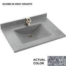 36 Bathroom Vanity With Granite Top by Shop Swanstone Contour Gray Granite Solid Surface Rectangular