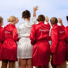 bridesmaid satin robes personalized satin robes with title on back knee length