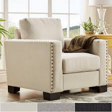 Nailhead Accent Chair Torrington Linen Nailhead Track Arm Accent Chair By Inspire Q