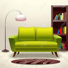 interior indoor living room design with sofa lamp and bookshelf
