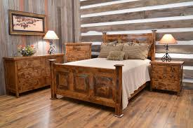 Rustic Bedroom Furniture Set by Solid Wood Bedroom Furniture In A Rustic Bedroom With Windows And