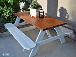 How To Make A Picnic Table Bench Cover by Best 25 Garden Picnic Bench Ideas On Pinterest Picnic Table