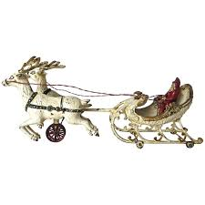 santa sleigh for sale santa in the sleigh with two reindeer by hubley circa 1900 at 1stdibs