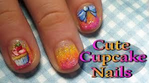 cute cupcake nail art tutorial short nails youtube